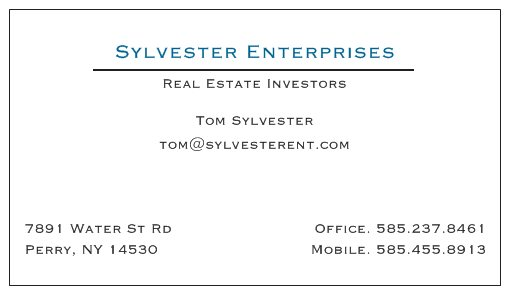 sylvester_enterprises_business_card_original